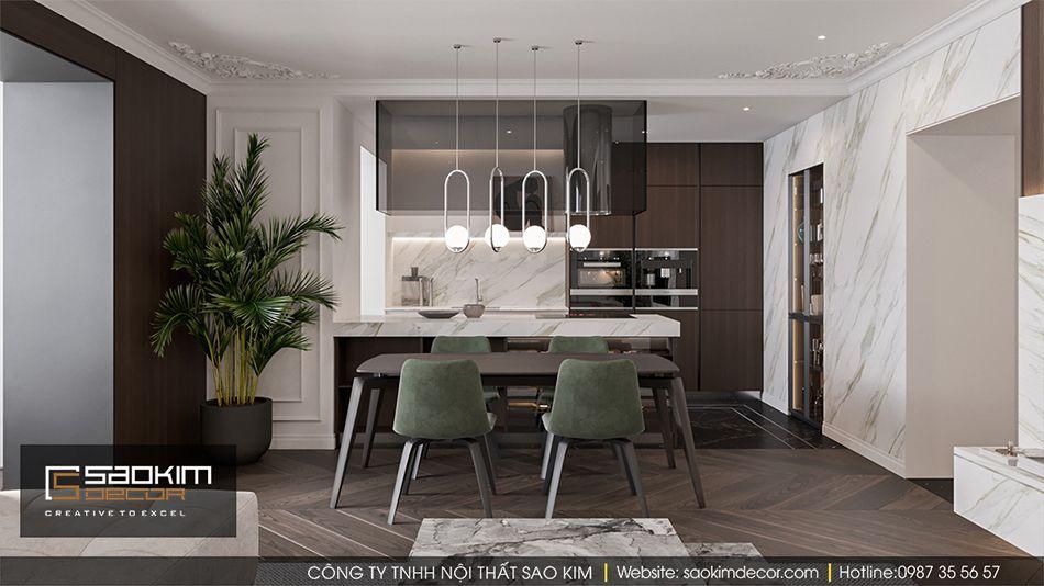 Thiết kế nội thất bàn ăn và bếp chung cư Vinhome Ocean Park