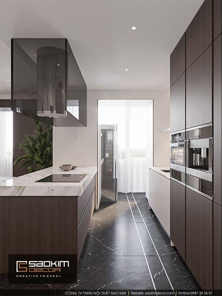 Thiết kế nội thất bàn ăn và bếp căn hộ Vinhome Ocean Park