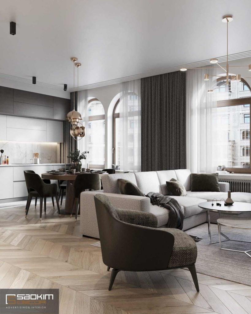 Tạo không gian mở giữa phòng khách và bếp