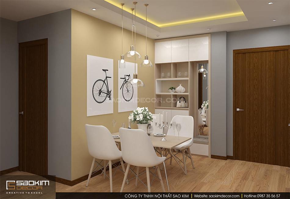 Thiết kế nội thất phòng ăn chung cư An Bình City mang vẻ đẹp tinh tế, sang trọng
