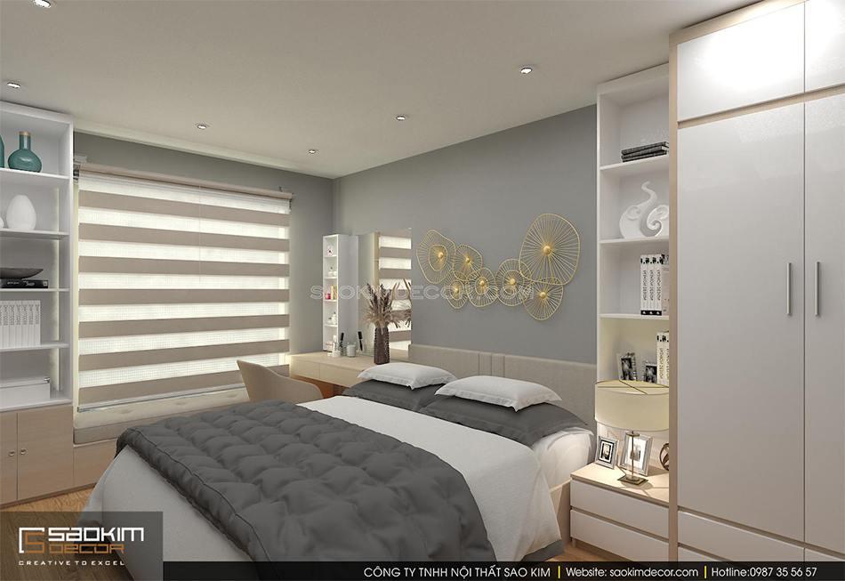 Thiết kế nội thất phòng ngủ master chung cưu An Bình City
