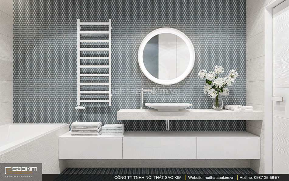 Thiết kế nội thất phòng tắm căn hộ duplex - Golden Westlake