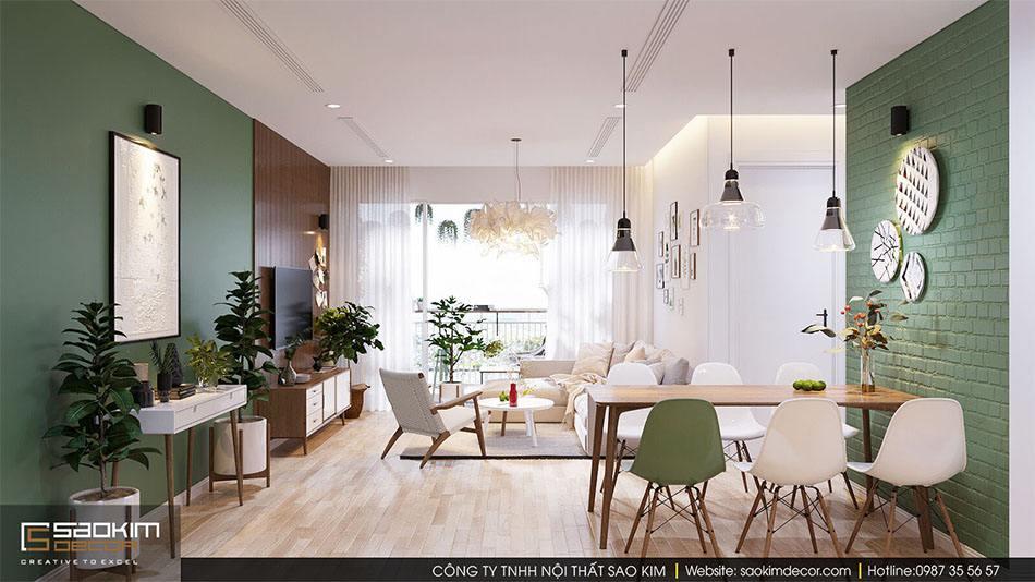 Phòng khách thiết kế nhà chung cư đẹp 70m2