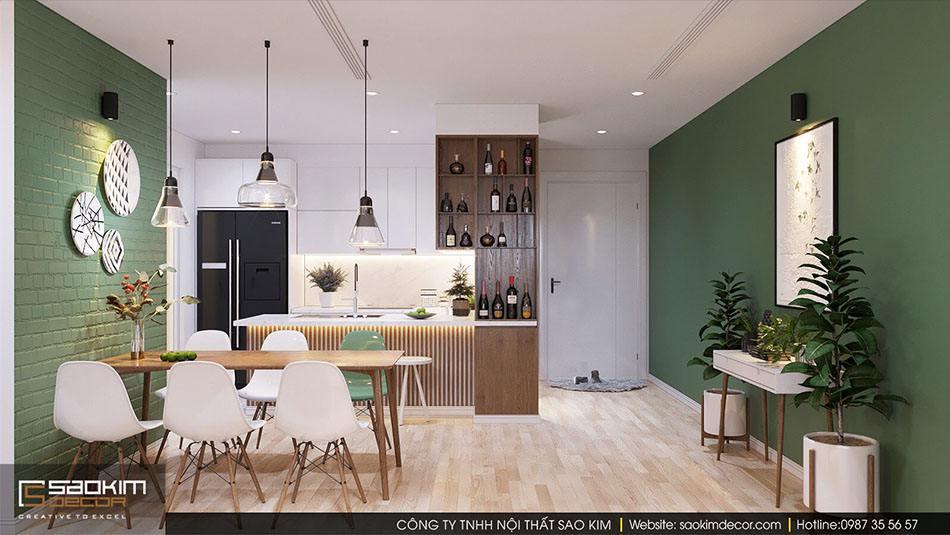 Thiết kế nội thất bếp, phòng ăn căn hộ 70m2