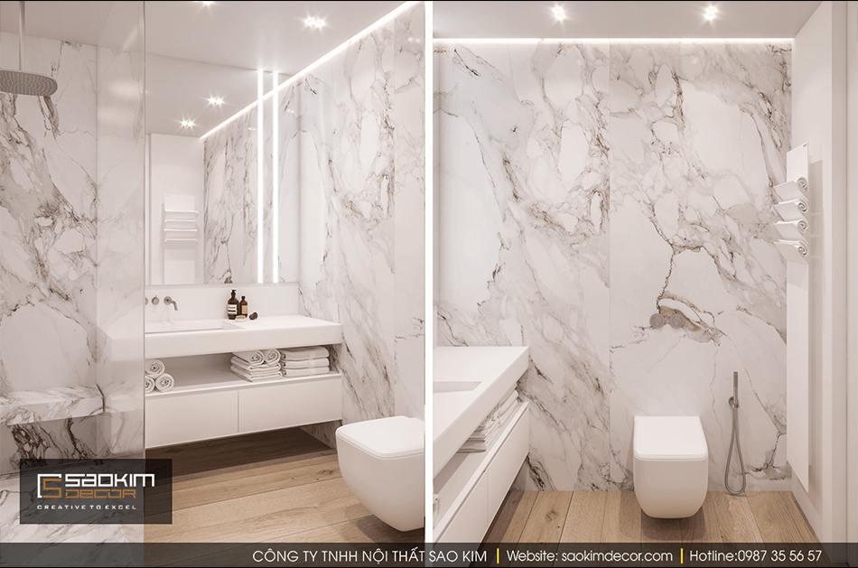 Thiết kế nội thất phòng tắm chung cư Hateco La Roma