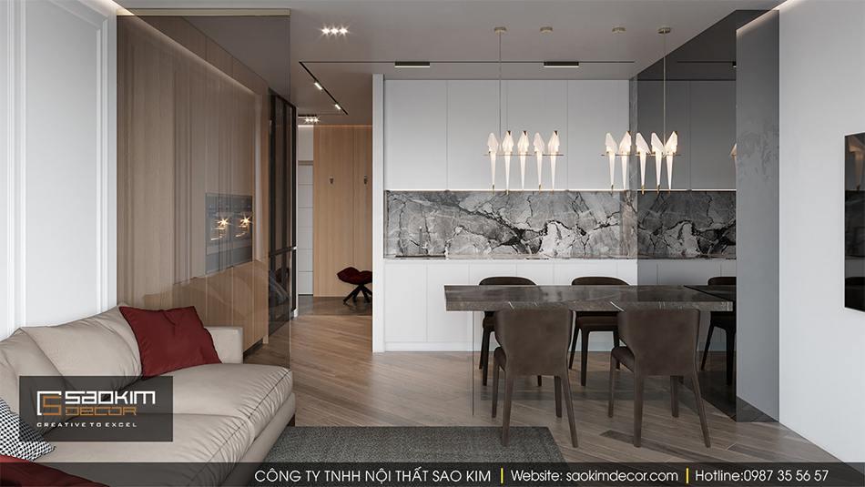 Không gian thiết kế nội thất mở giữa phòng khách và bếp được lựa chọn