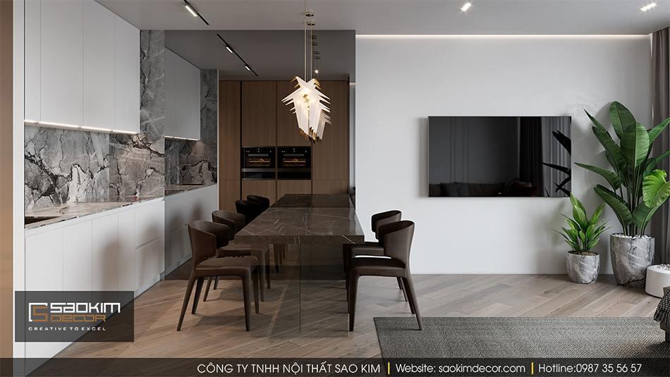 Thiết kế nội thất căn hộ chung cư cao cấp với không gian bếp ấn tượng