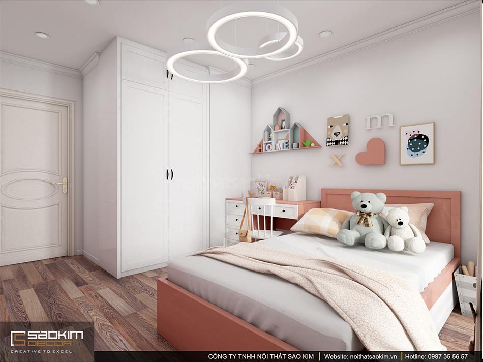 Thiết kế phòng ngủ bé gái với gam màu cam đất