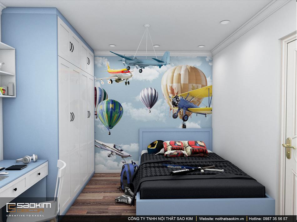 Thiết kế phòng ngủ bé trai chung cư Sunshine Garden