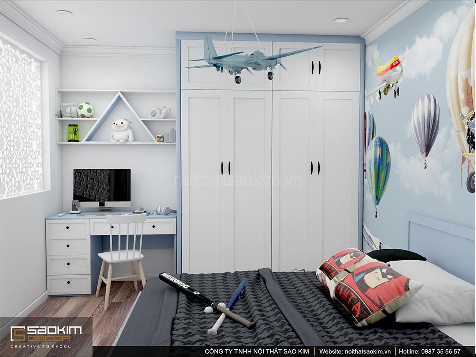 Thiết kế phòng ngủ bé trai kết hợp giữa gam màu tắng và xanh