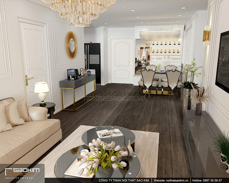 Thiết kế nội thất chung cư tân cổ điển Sunshine Garden