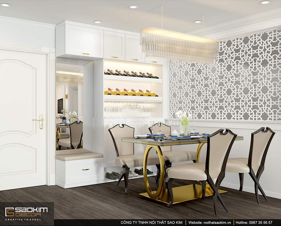 Thiết kế nội thất phòng ăn chung cư Sunshine Garden