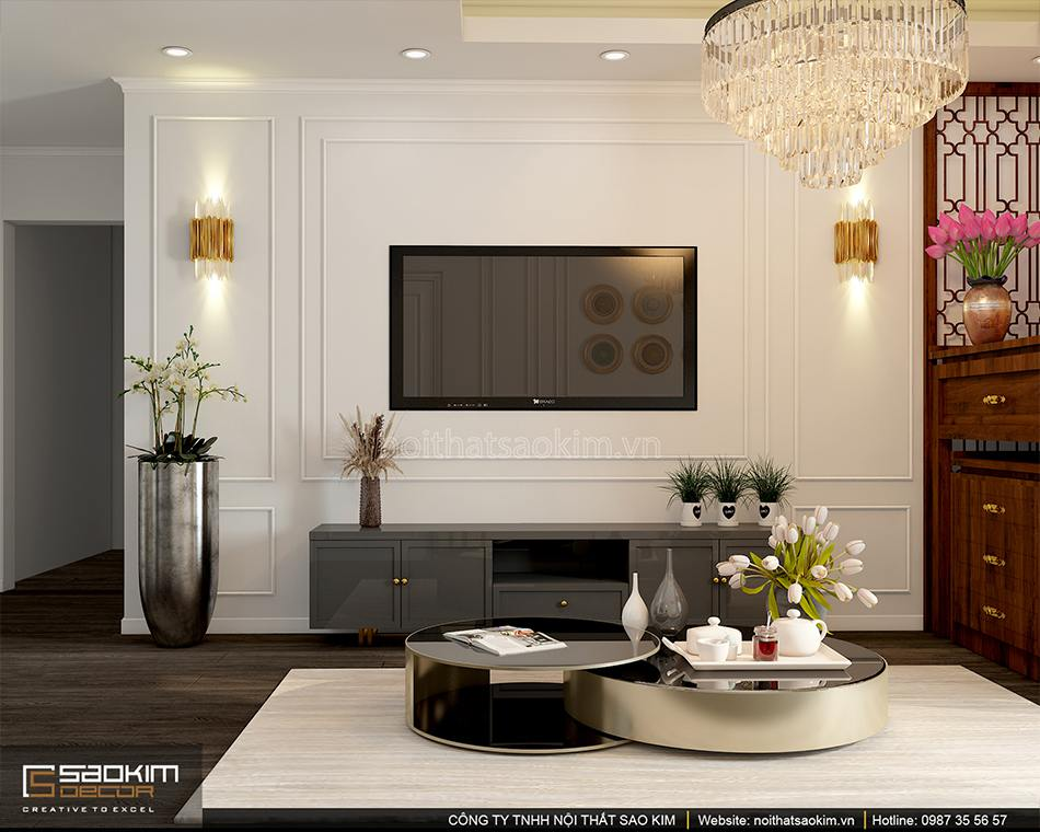 Thiết kế nội thất phòng khách chung cư Sunshien Garden