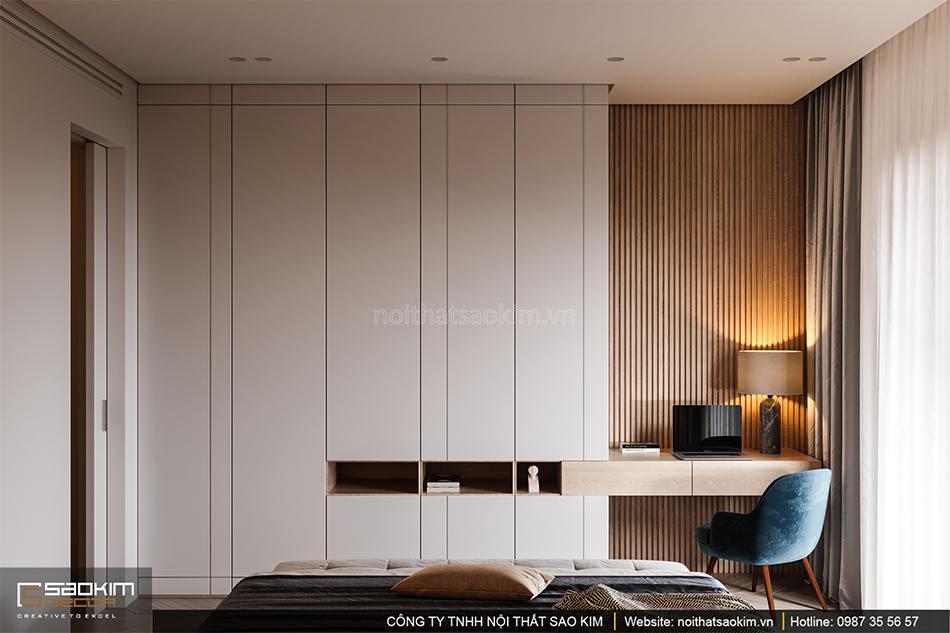 Thiết kế nội thất phòng ngủ master căn hộ cao cấp Vinhomes West Point
