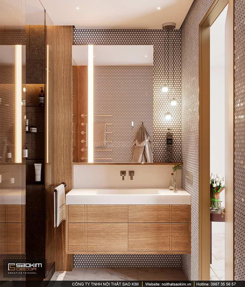 Thiết kế nội thất phòng tắm 2 căn hộ cao cấp Vinhomes West Point