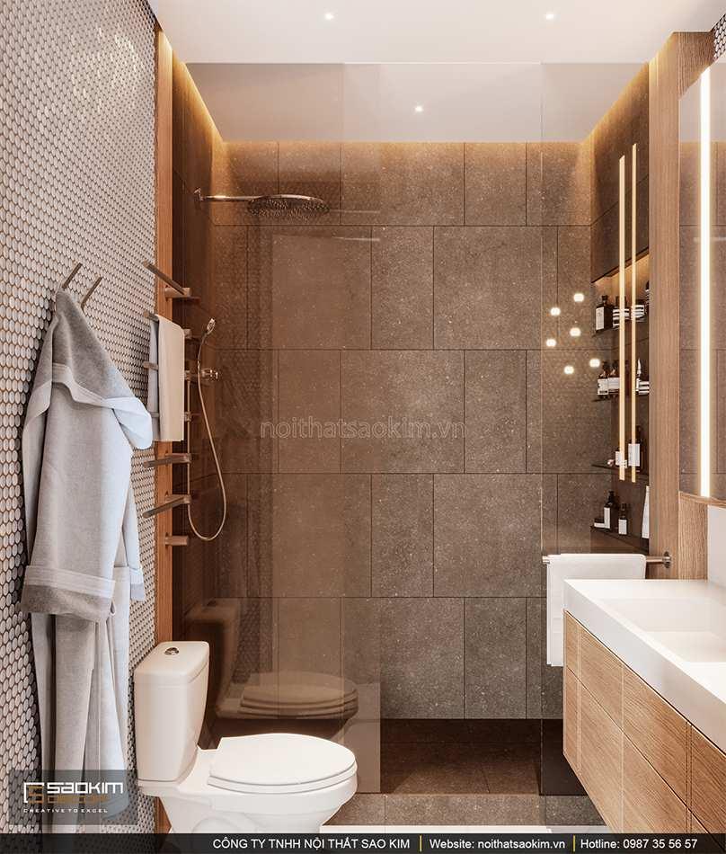Thiết kế nội thất phòng tắm 2 chung cư cao cấp Vinhomes West Point