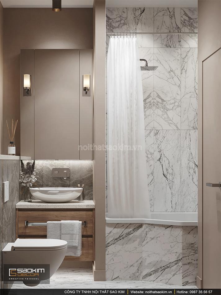 Thiết kế nội thất phòng tắm căn hộ 6TH Element