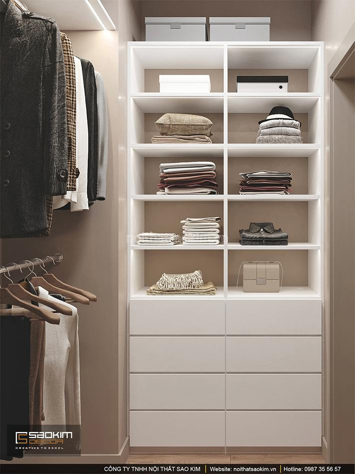 Thiết kế phòng thay đồ căn hộ 1,5 phòng ngủ 6TH Element