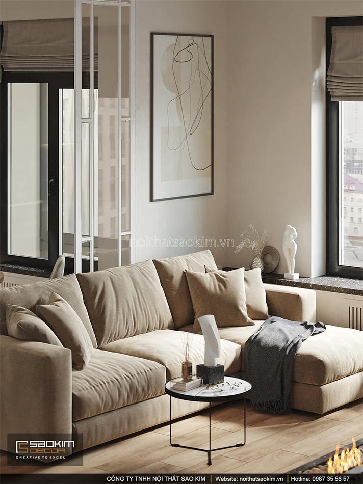 Thiết kế nội thất phòng khách chung cư 6TH Element