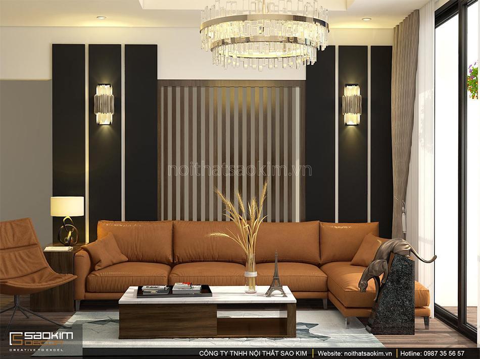 Thiết kế nội thất phòng khách căn hộ 100m2 PHC Complex