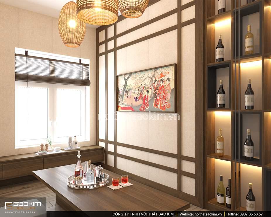 Thiết kế nội thất phòng ăn theo phong cách Nhật Bản