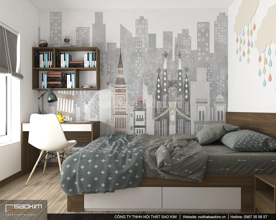 Thiết kế phòng ngủ bé trai căn hộ DHC Complex 100m2