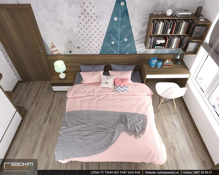 Thiết kế phòng ngủ bé gái căn hộ DHC Complex 100m2