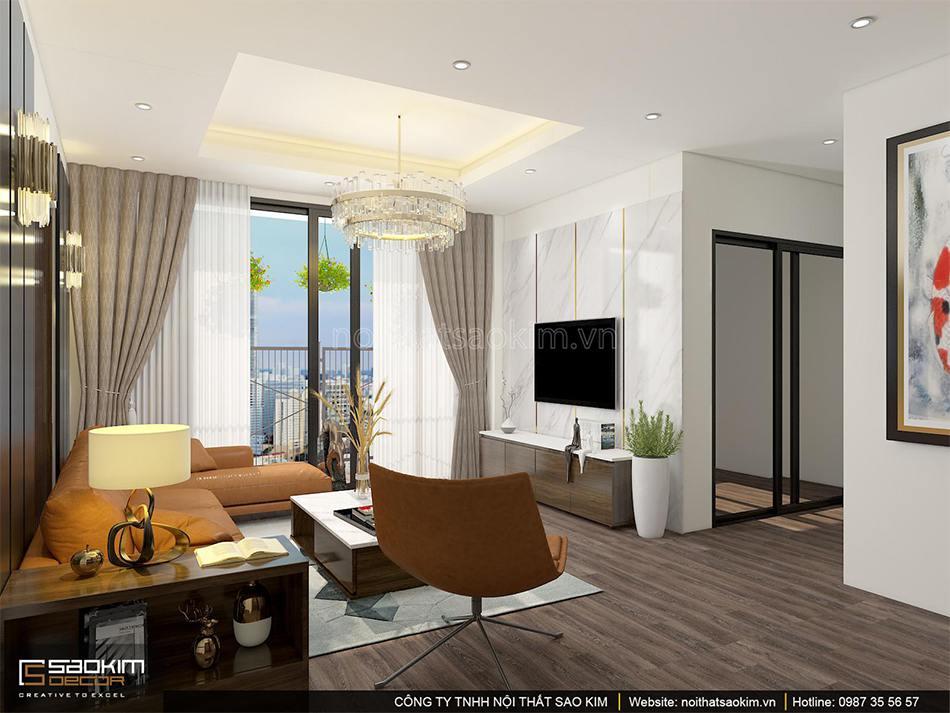 Thiết kế nội thất phòng khách chung cư PHC Complex