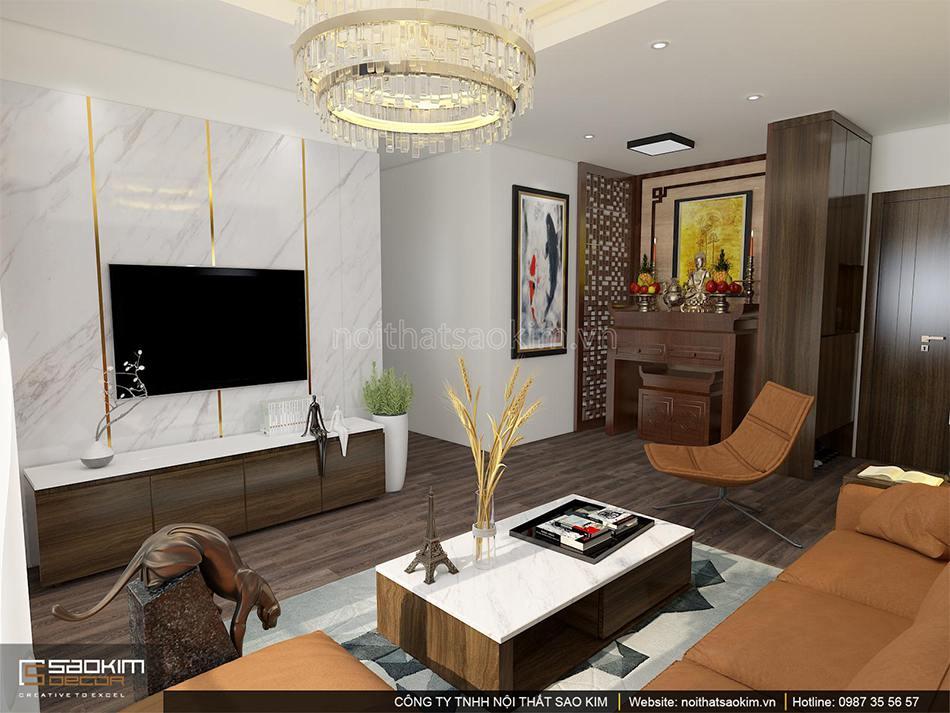 Thiết kế nội thất phòng khách chung cư 100m2 PHC Complex