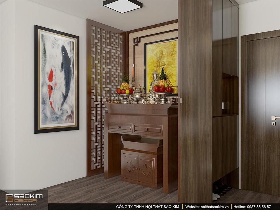 Thiết kế nội thất không gian thờ căn hộ 100m2 PHC Complex