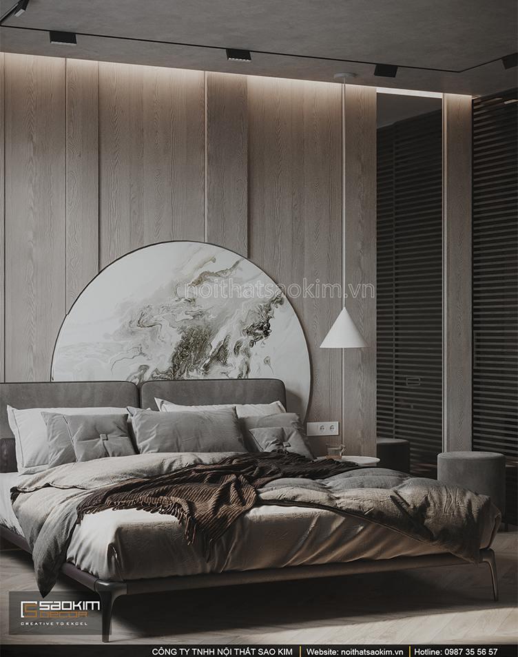Thiết kế phòng ngủ chung cư đẹp, ấm áp và không kém phần sang trọng