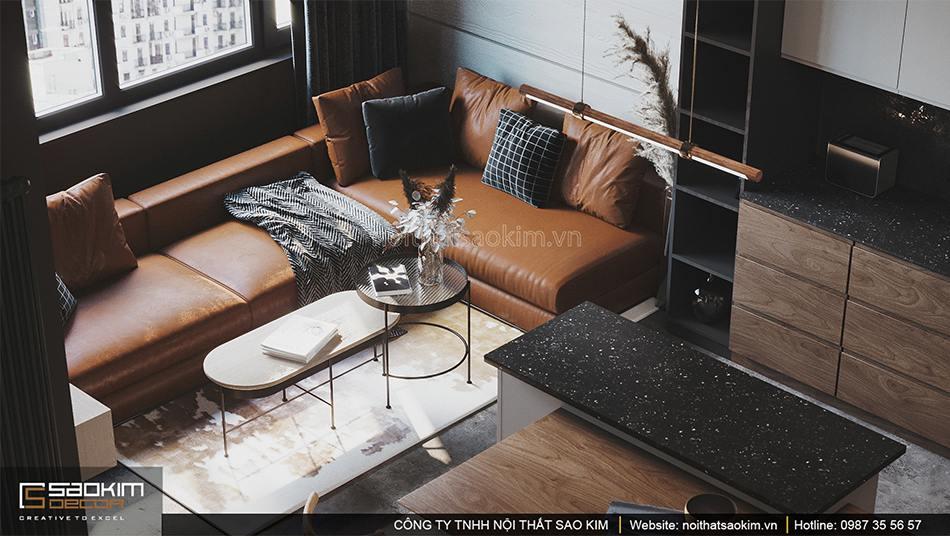 Thiết kế nội thất phòng khách chung cư Vinhomes Smart City theo phong cách Scandinavian