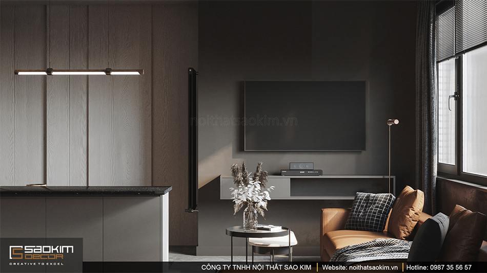 Thiết kế nội thất phòng khách chung cư theo phong cách hiện đại kết hợp Scandinavian