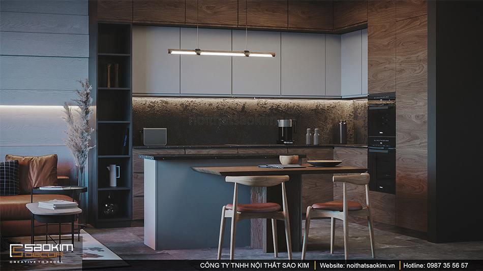 Thiết kế nội thất phòng bếp chung cư Vinhomes Smart City theo phong cách Scandinavian