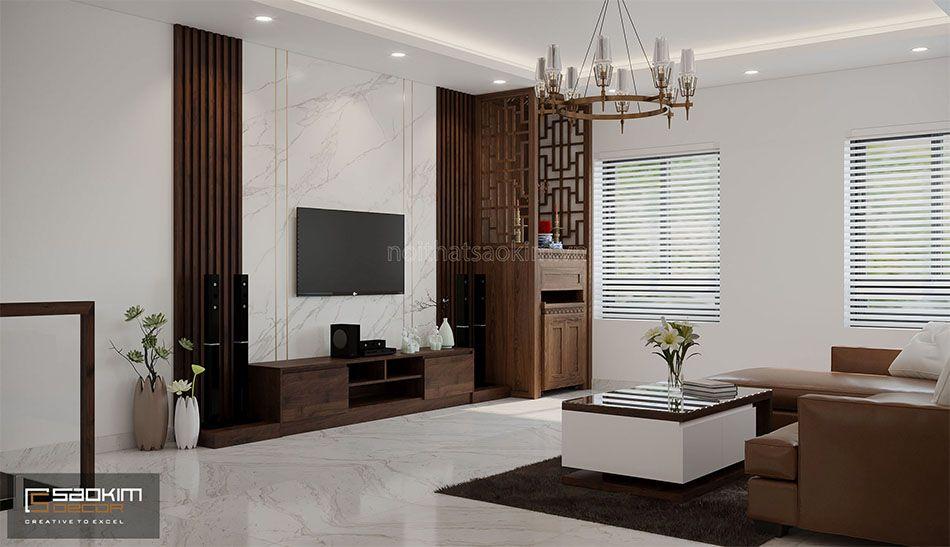 Thiết kế phòng khách nhà liền kề đẹp La Casta Văn Phú