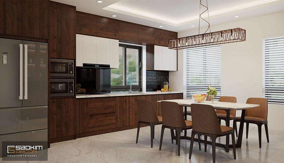 Thiết kế phòng bếp và phòng ăn nhà liền kề đẹp La Casta Văn Phú