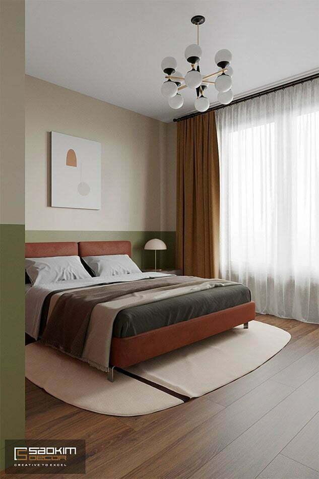 Thiết kế phòng ngủ căn hộ chung cư theo phong cách Colour Block