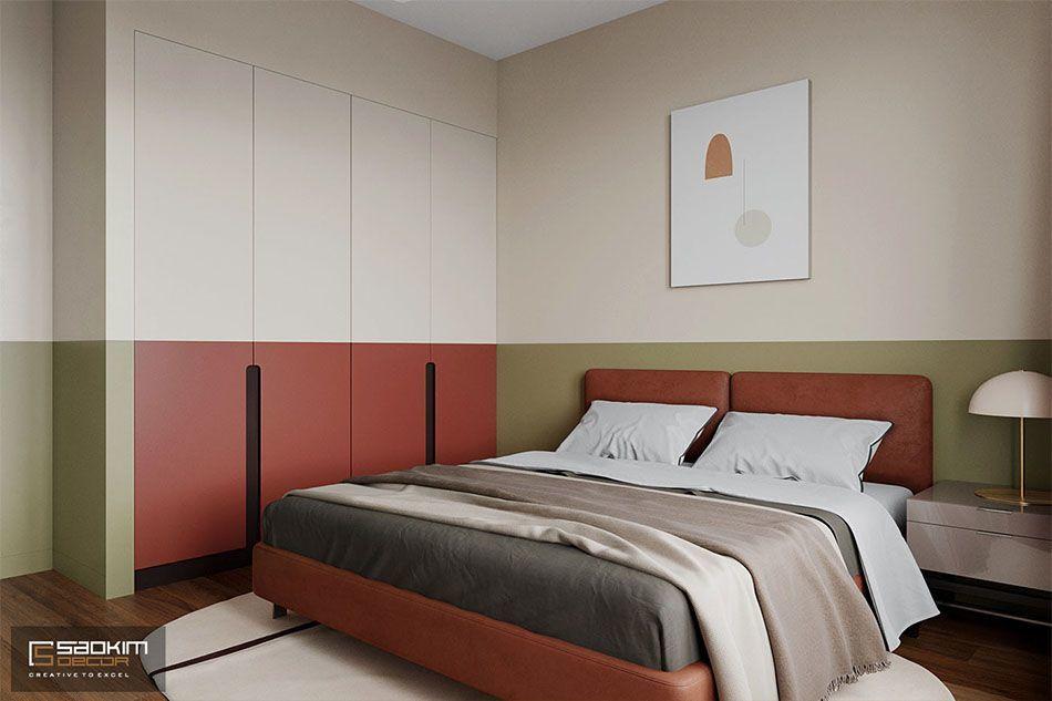 Thiết kế phòng ngủ căn hộ chung cư 50m2 theo phong cách Colour Block