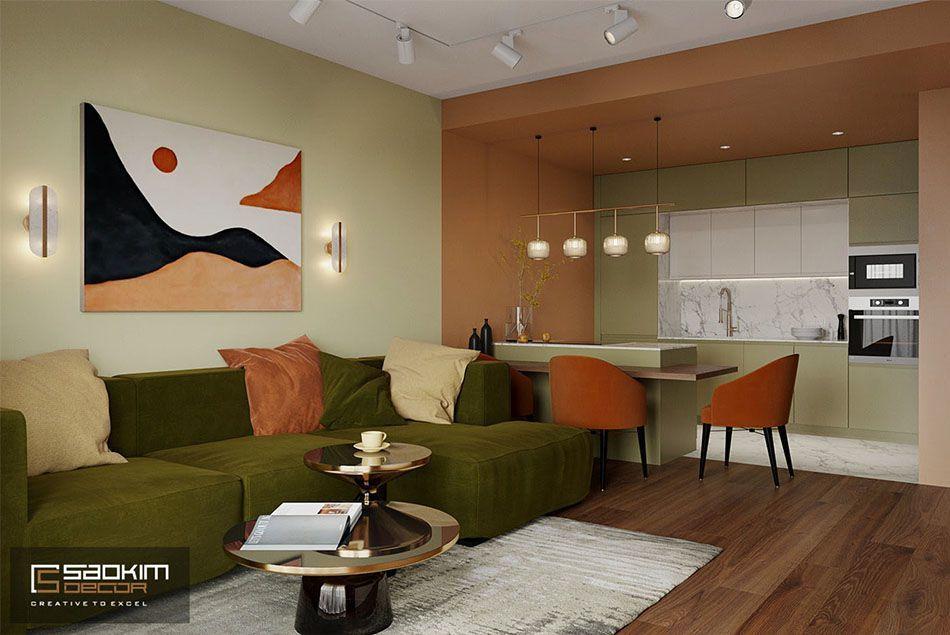 Thiết kế phòng khách căn hộ chung cư 50m2 Sunshine Garden