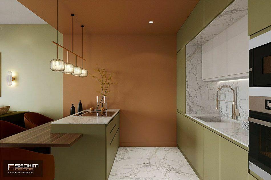 Thiết kế phòng bếp căn hộ 50m2 Sunshine Garden