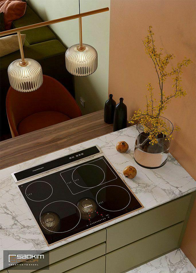 Thiết kế phòng bếp chung cư phong cách Colour Block