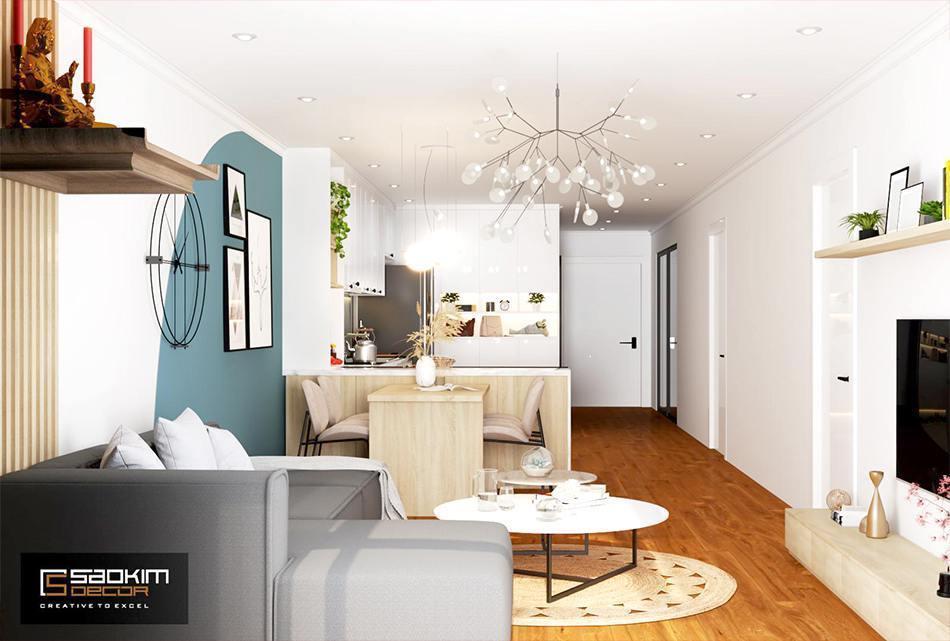 Thiết kế phòng khách chung cư theo phong cách Scandinavian dự án Sunshine Garden