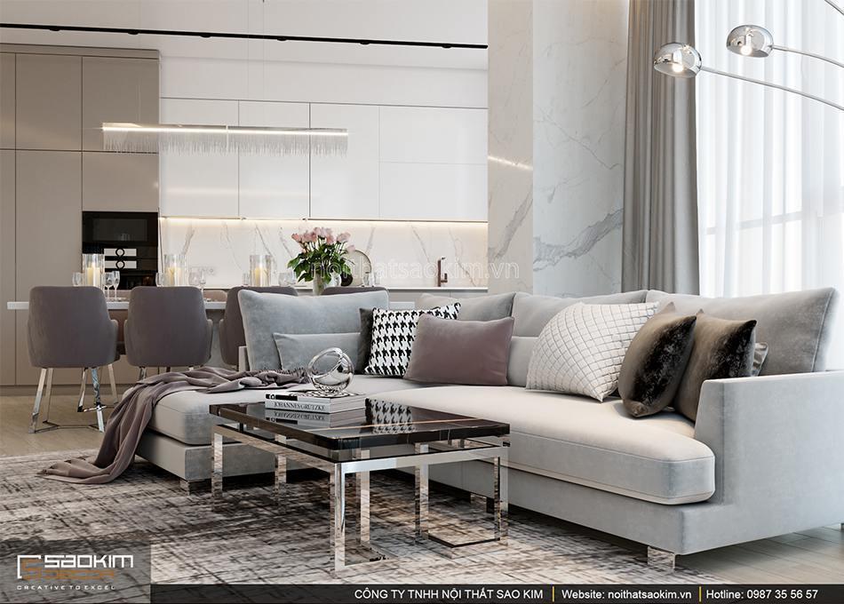 Thiết kế phòng khách căn hộ Sun Grand City 56m2