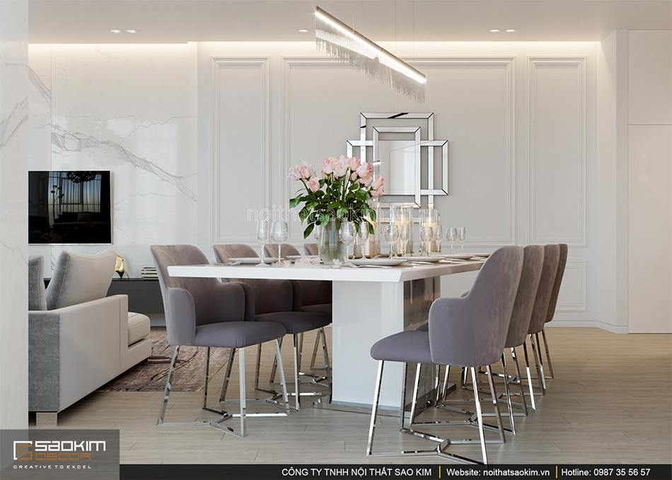 Thiết kế phòng bếp căn hộ Sun Grand City 56m2