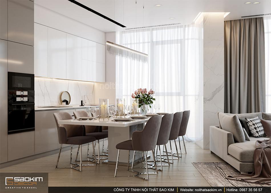 Thiết kế phòng bếp căn hộ chung cư Sun Grand City