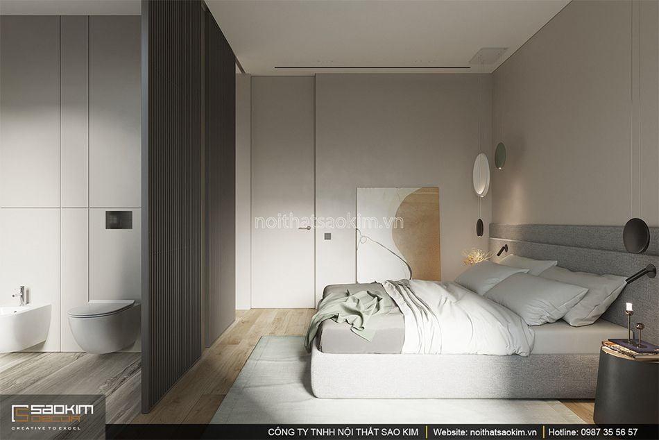 Thiết kế phòng ngủ master chung cư 93m2 Indochina Plaza