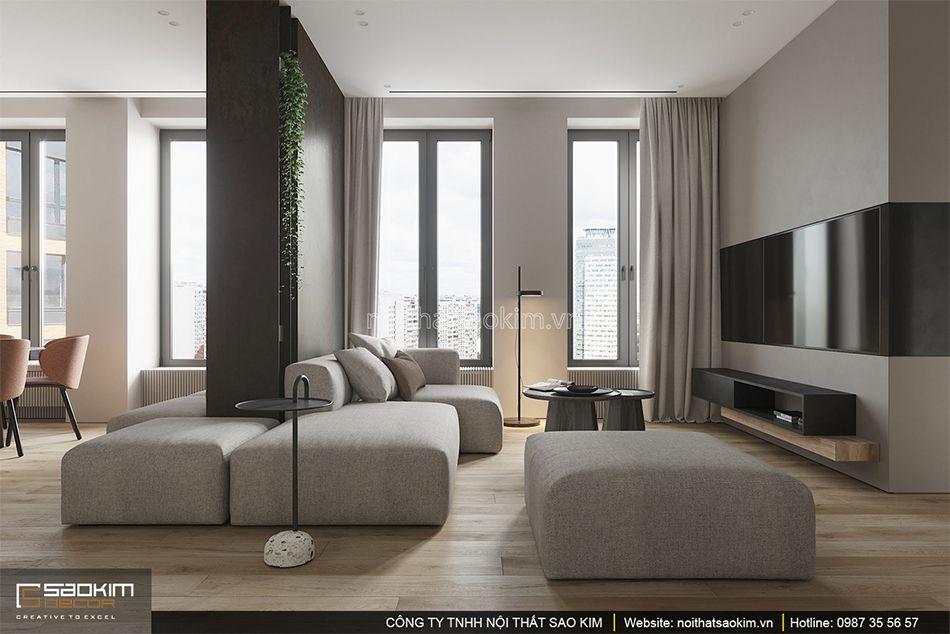 Thiết kế phòng khách chung cư 93m2 Indochina Plaza