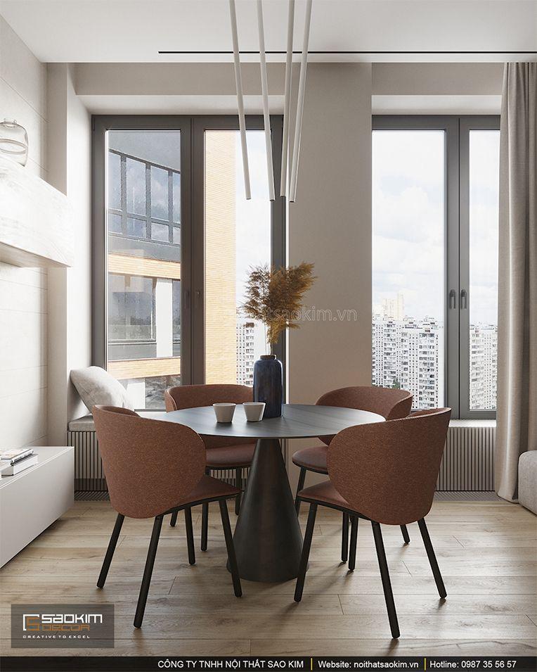 Thiết kế phòng ăn chung cư 93m2 Indochina Plaza