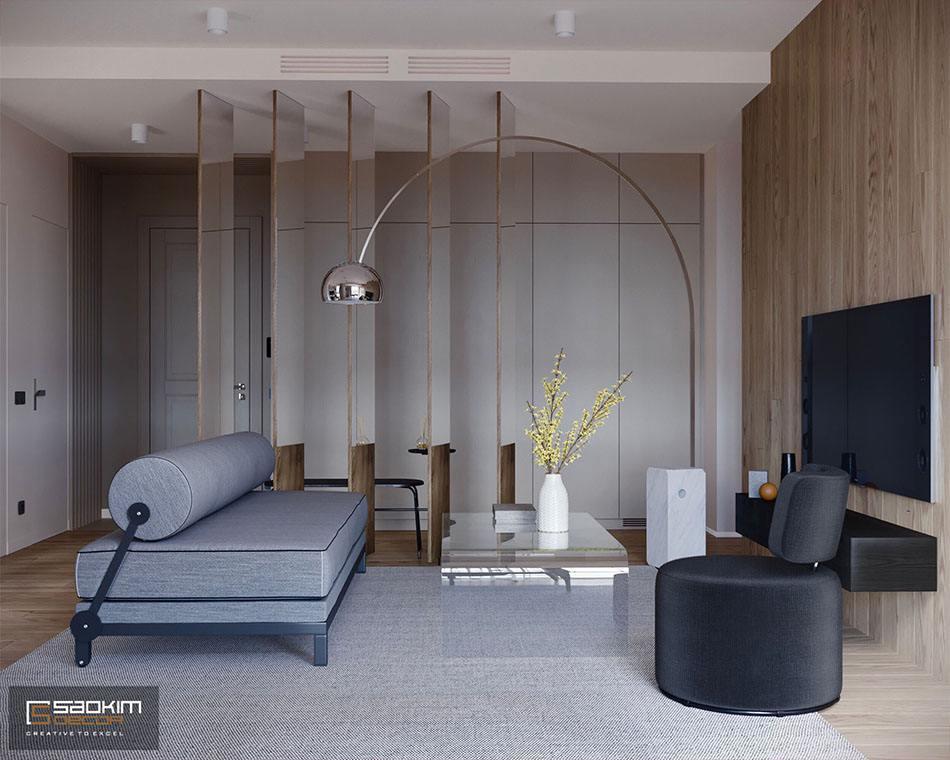 Thiết kế phòng khách chung cư nhỏ 55 m2 Vinhomes Metropolis Liễu Giai