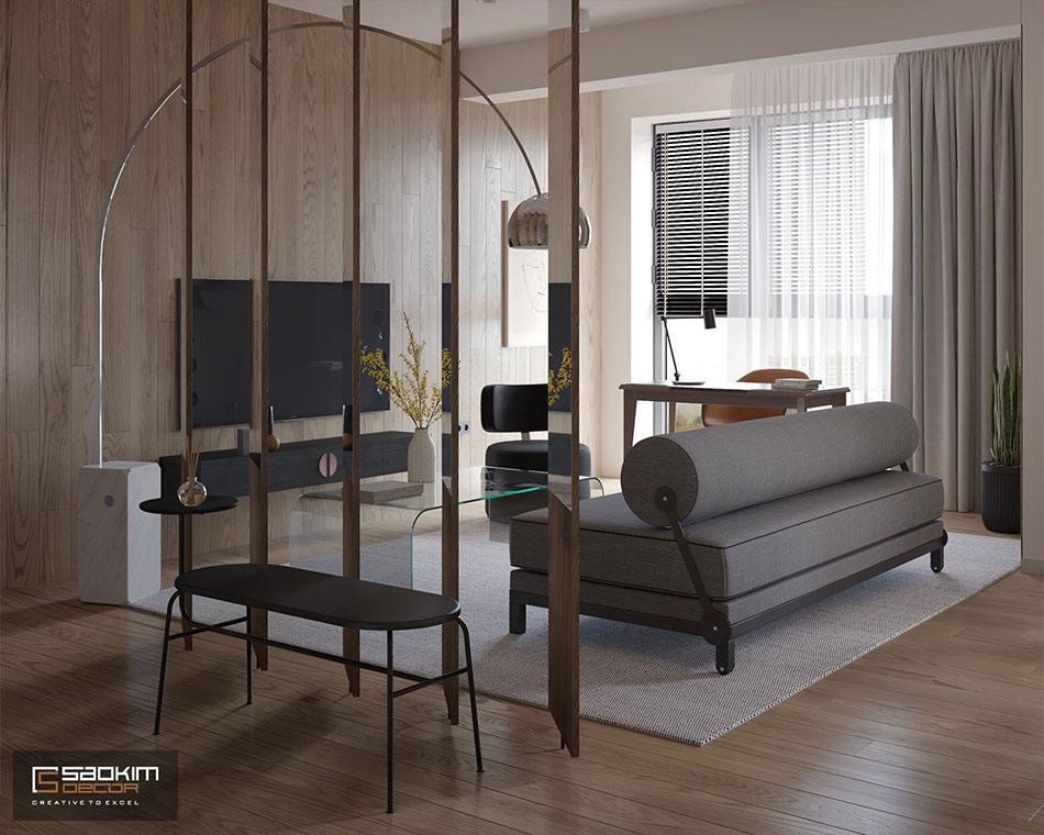 Thiết kế phòng khách chung cư phong cách Đài Loan - Vinhomes Metropolis Liễu Giai